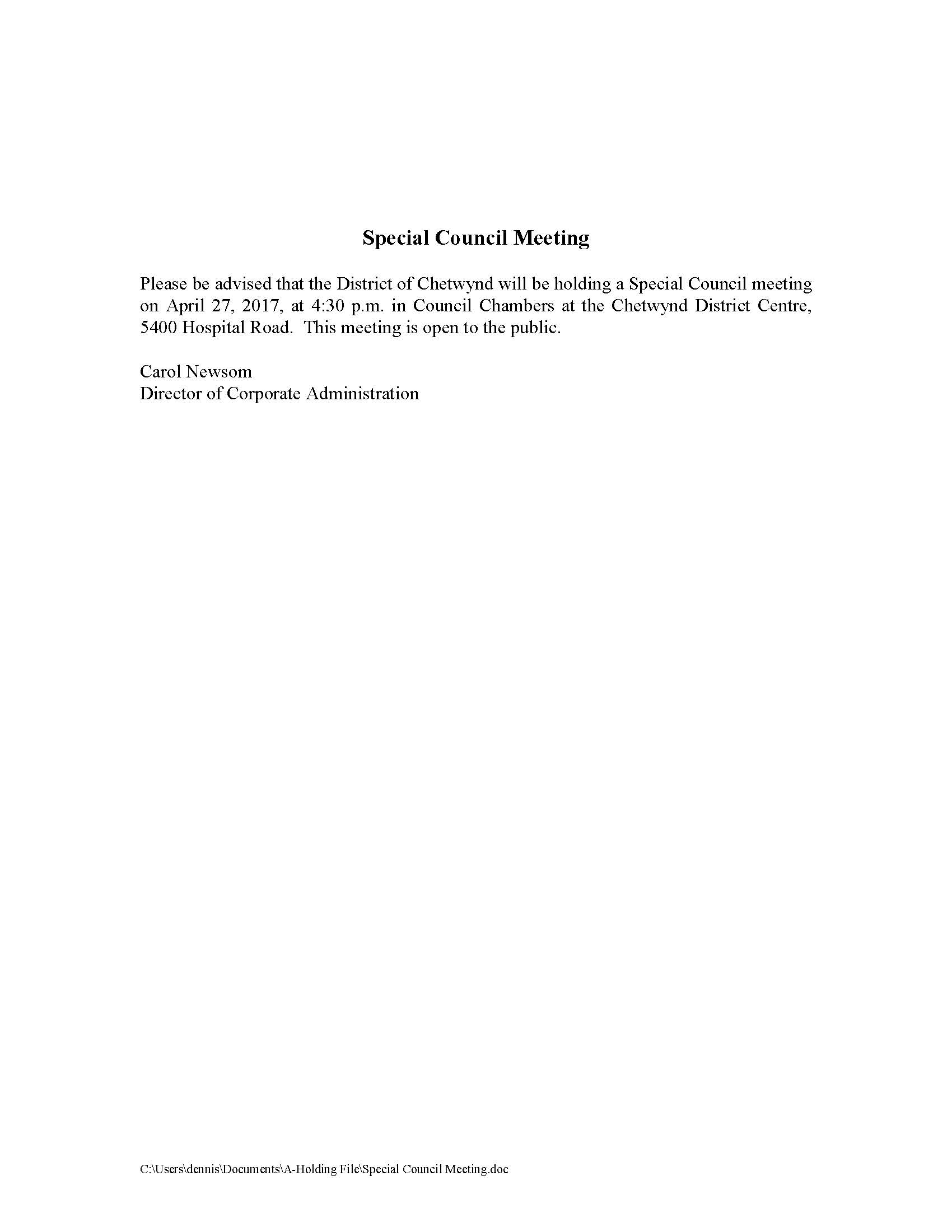 Notice of Special Council Meeting April 27, 2017 ...